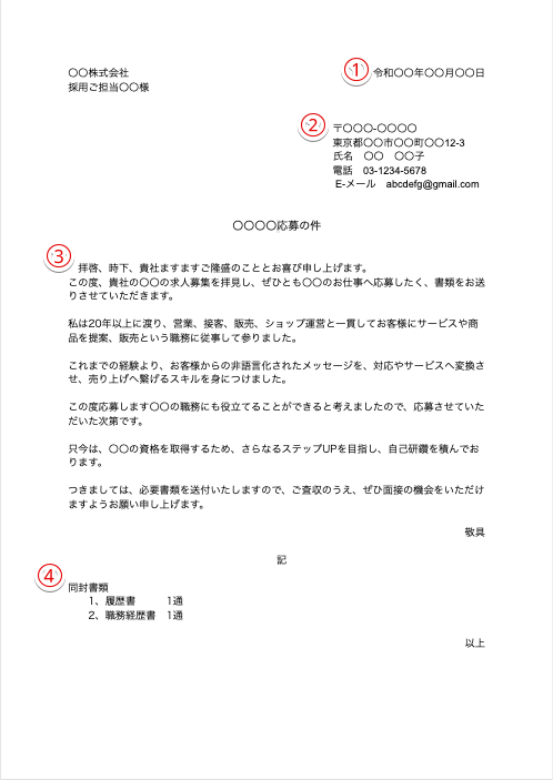 送付状 職務経歴書